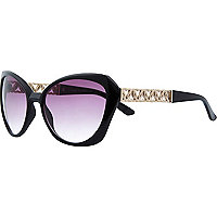 Black chain arm cat eye sunglasses