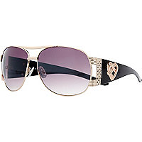 Black heart detail aviator sunglasses