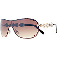 Gold tone diamante arm visor sunglasses