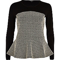Black boucle panel peplum top