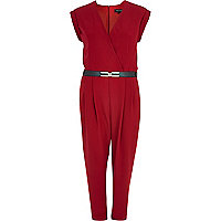 Dark red wrap front belted jumpsuit
