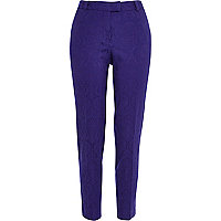 Purple jacquard trousers
