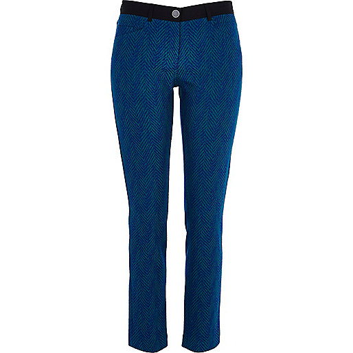 Blue chevron pattern trousers