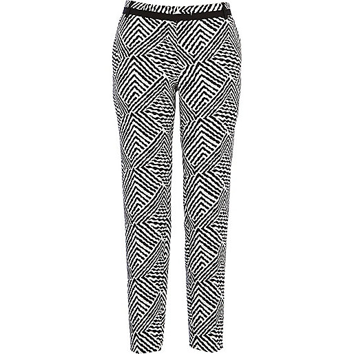 Black and white zebra print smart trousers