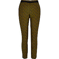 Yellow geometric print cigarette pants