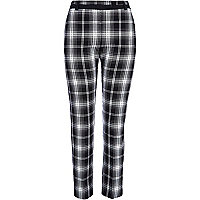 Black and white check smart trousers
