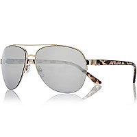 Gold tone semi-rimless aviator sunglasses