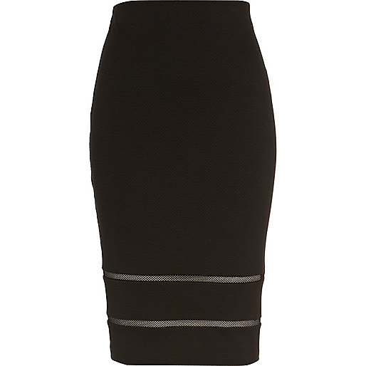 Black mesh insert textured pencil skirt