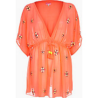 Bright pink embellished kaftan