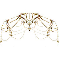 Gold tone faux pearl cape necklace