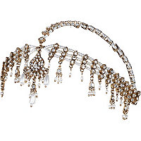White faux pearl crown hair chain