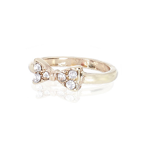 Gold tone diamante bow midi ring