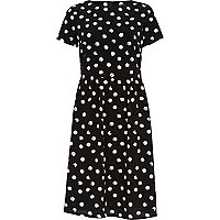 Black polka dot midi dress
