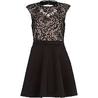 Black 2 in 1 lace necklace prom dress