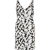 Black and white sequin shift dress
