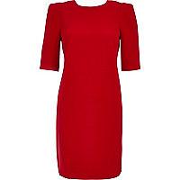 Bright red half sleeve shift dress