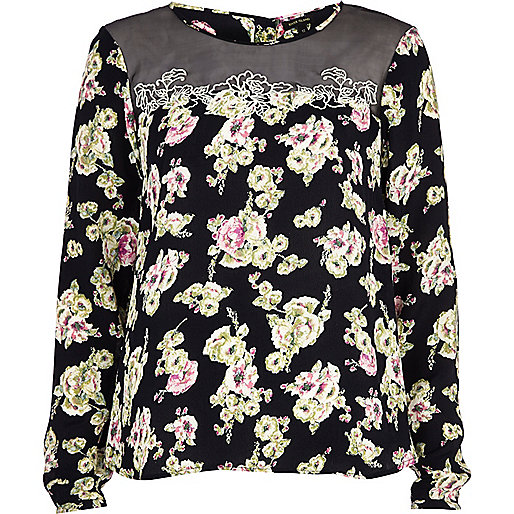 Black floral sheer insert long sleeve top