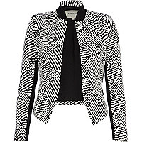 Black and white jacquard blazer