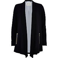 Black longline zip pocket blazer