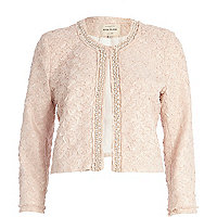 Light pink textured embellished jacket