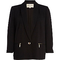 Black zip pocket blazer