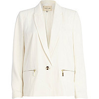 Cream zip pocket blazer