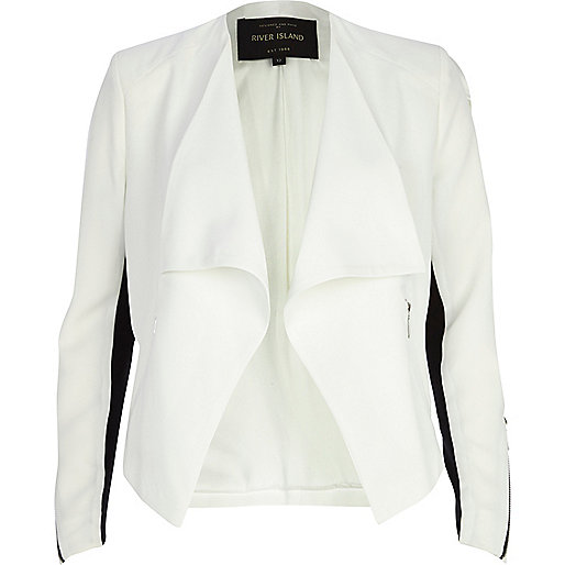 White colour block waterfall jacket