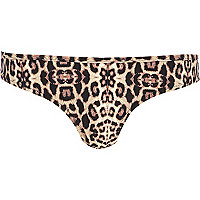 Brown animal print bikini bottoms