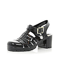 Black block heel jelly sandals