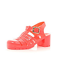 Coral block heel jelly sandals