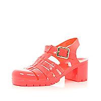 Coral block heel jelly sandals