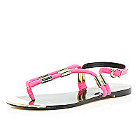 Pink metal trim toe post sandals