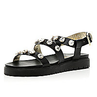 Black gem stone embellished flatform sandals