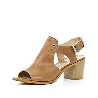 Tan peep toe sandals