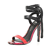 Red tie colour block barely there sandals