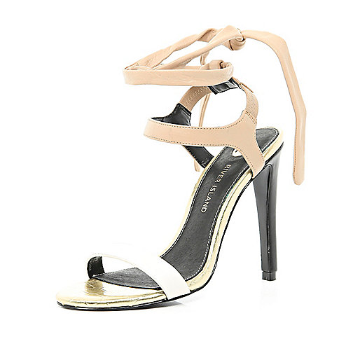 Beige tie colour block barely there sandals