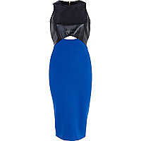 Blue snake panel cut out midi dress