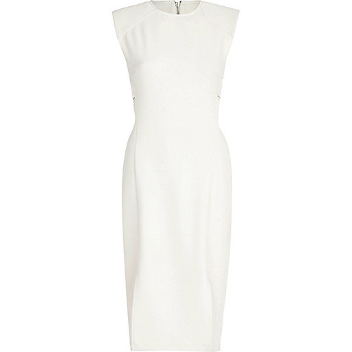 White cut out side sleeveless dress