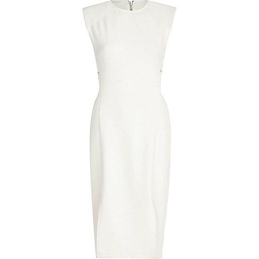 White cut out side sleeveless dress