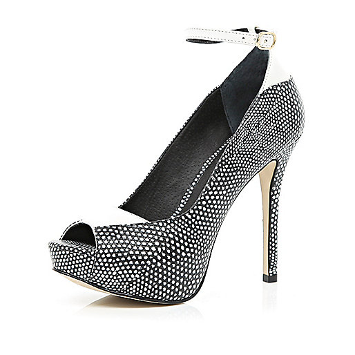 Black polka dot peep toe platforms