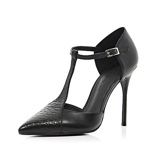 Black T bar pointed court shoes