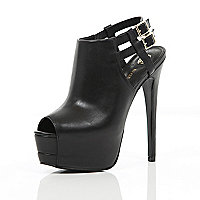 Black peep toe platform stilettos