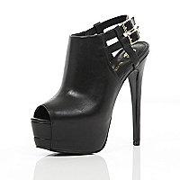 Black peep toe platform stilettos