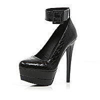 Black croc ankle strap platform court shoes