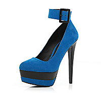 Blue ankle strap platform court shoes