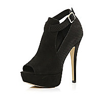 Black snake panel cut out shoe boots