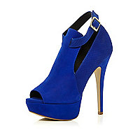 Blue snake panel cut out shoe boots