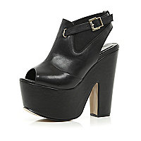 Black peep toe platforms