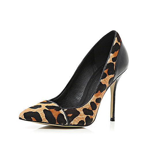 Brown leopard print pony skin court shoes