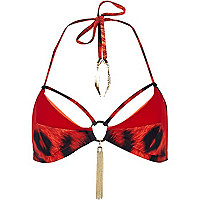 Red Katie Eary leopard print panel bikini top